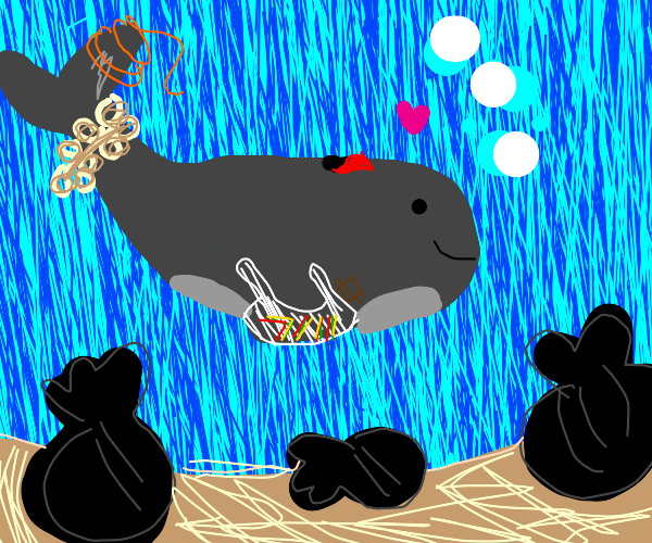 Whales love garbage
