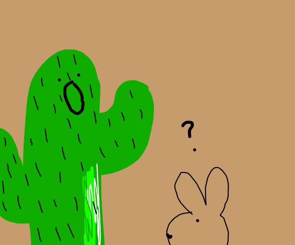 cactus man is scared of a jackrabbit