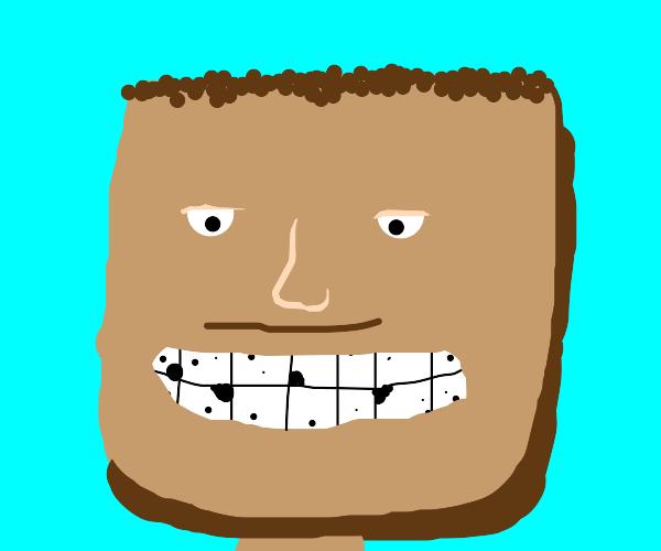 Square man loves having cavities