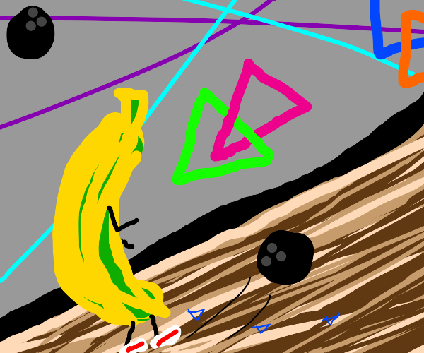 Banana plays bowling