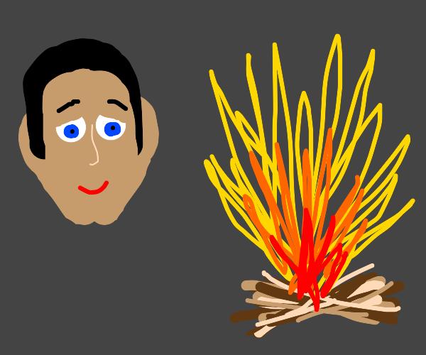 a floating head enjoys bonfire