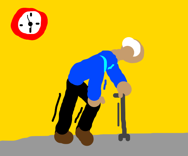 old man with cane struggling to walk