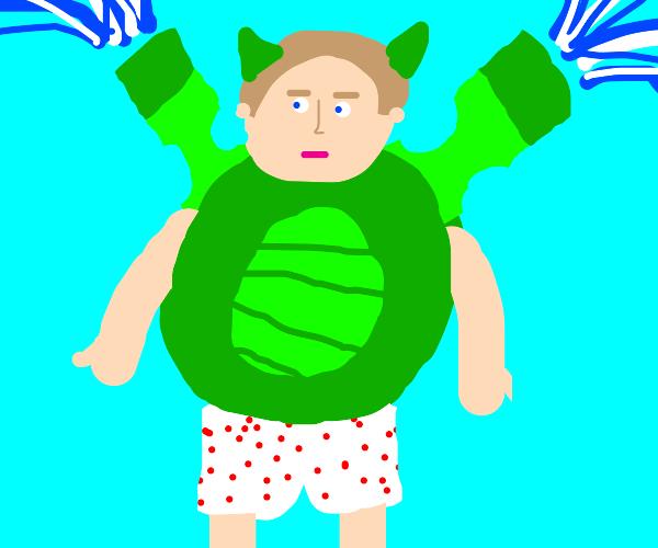 Green Blastoise human version in underwears