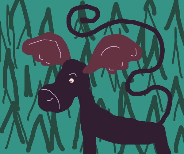 sad purple moose with swirly tail