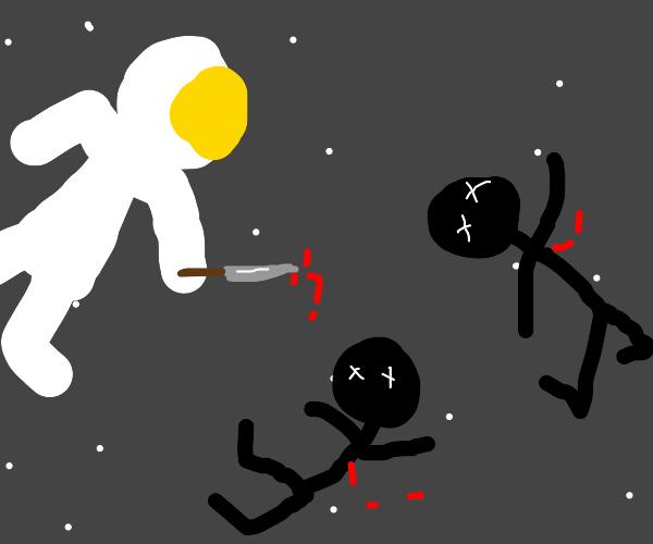 space man murdering stick men