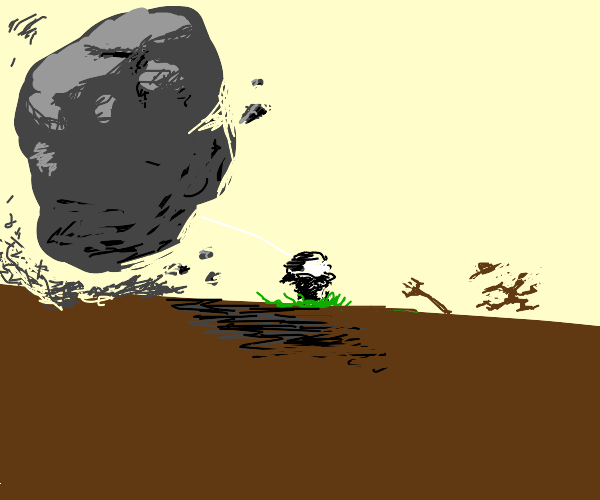 farmboy running from giant rock