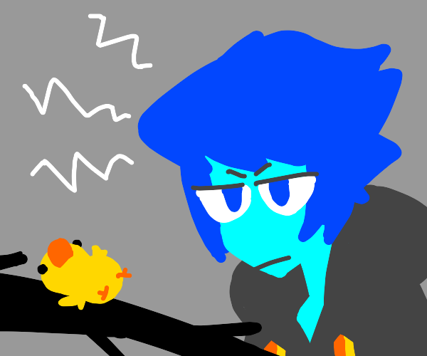 Lapis (su) looking at a baby bird confused