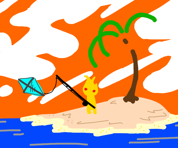 Hot guy reels in a kite on a deserted island