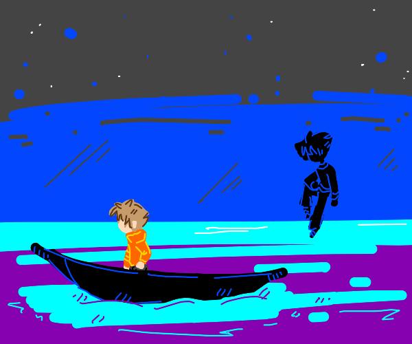 shadow looking at a man in ocean taking boat