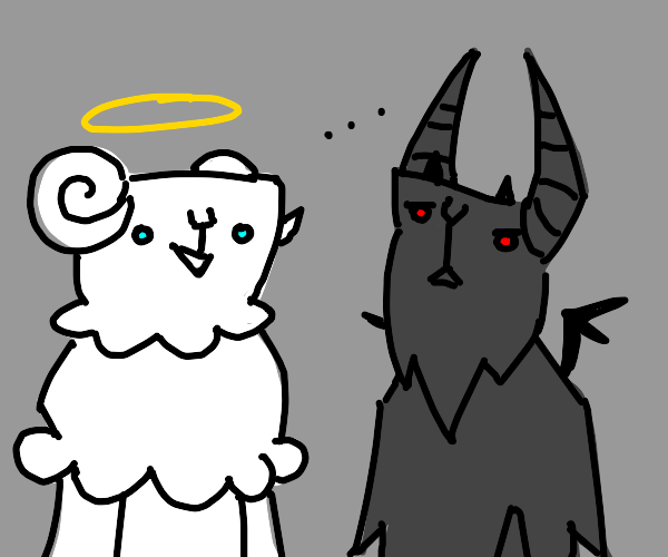 Demon goat and angel goat