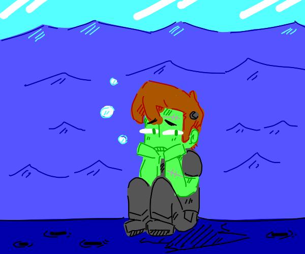 Sad Frankenstein underwater