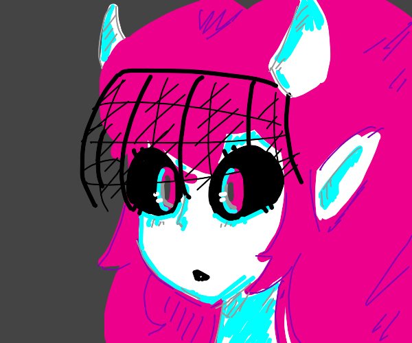 pink haired girl with horns and black veil