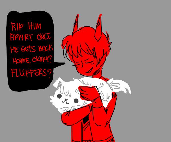 devil tells dog to eat owner
