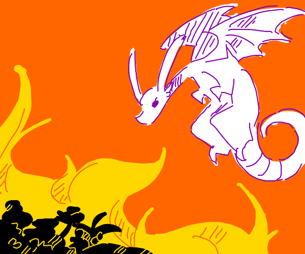 Dragon starting a forest fire