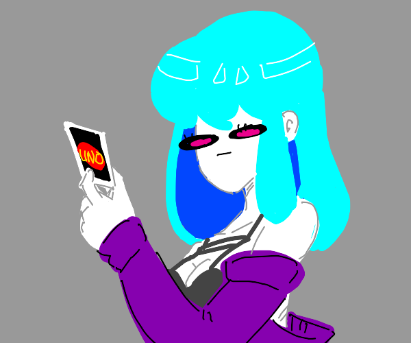 Blue haired girl plays UNO