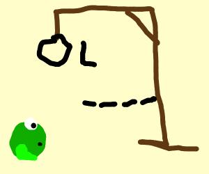 scary frog playing hangman