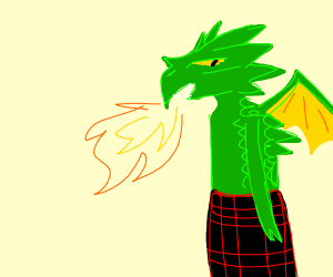 Dragon with kilt and bagpipes breathes fire