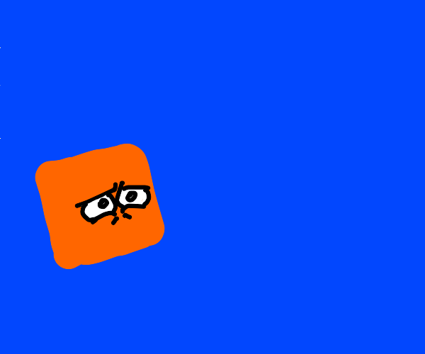 An orange block stares into the souls of blue