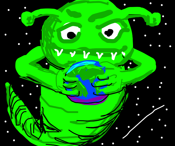 Green galactical monster holds Earth in hands