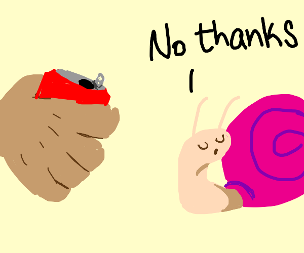A snail refusing a can of Coca-Cola
