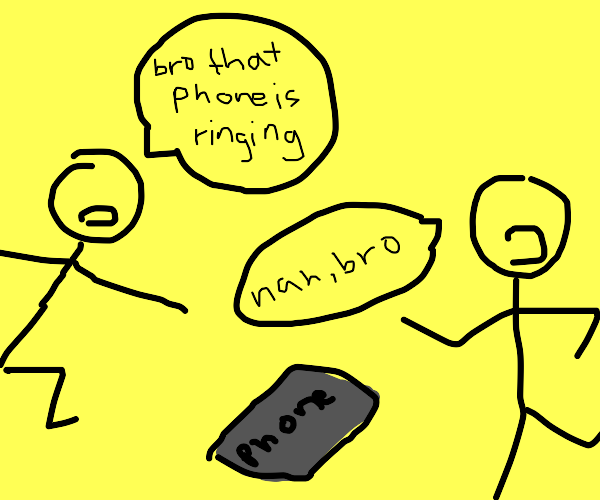 two dudes argue over if a phone is ringing