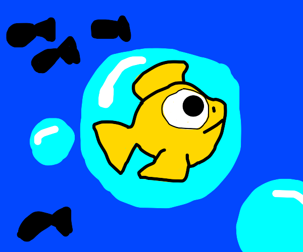 fish in a bubble under the sea