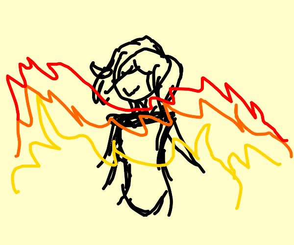 Woman chillin in the flames