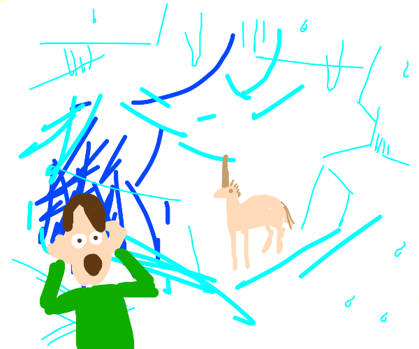 man suprised by unicorn in ice cave