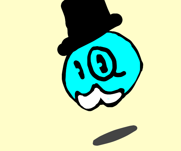 blue person is fancy with top hat and monocle