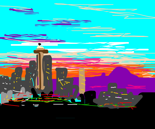 A city with a mountain in the background