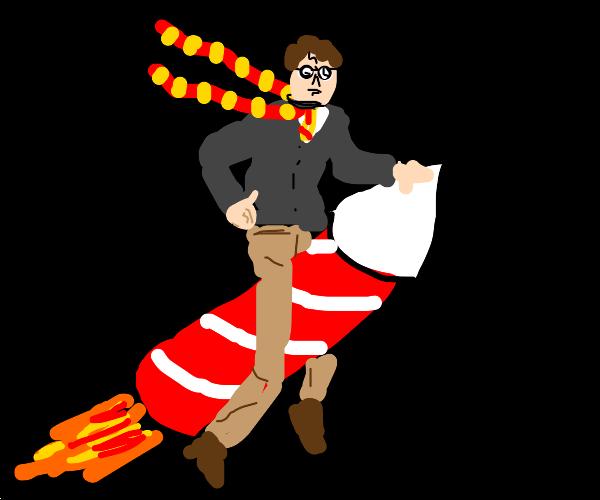 Harry Potter rides a firework rocket
