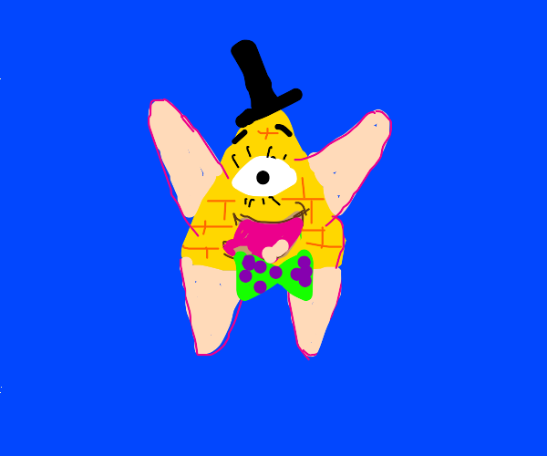 bill cipher with patrick star's arms and legs
