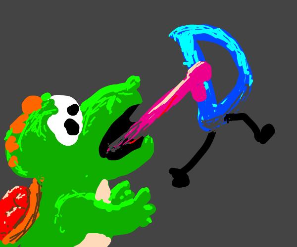 Yoshi uses tongue to eat Drawception