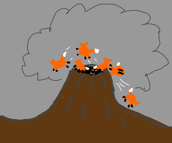 Volcano erupts with foxes