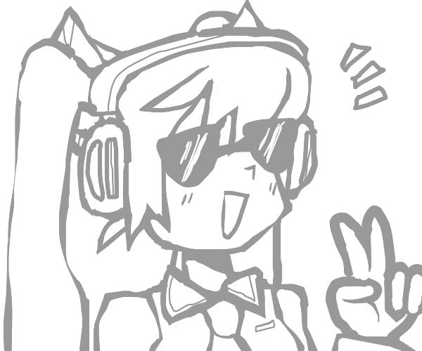 hatsune miku has sunglasses and peace hand