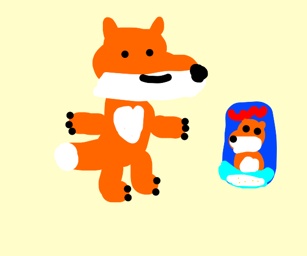 Fox mascot with heart