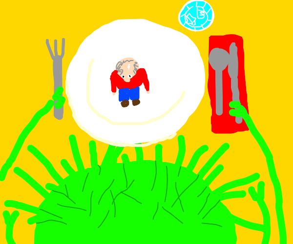 alien eats man