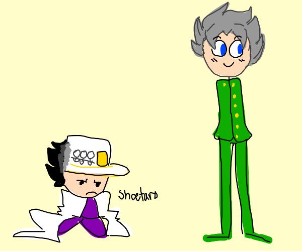 small Jotaro and tall Koichi (cured JJBA)