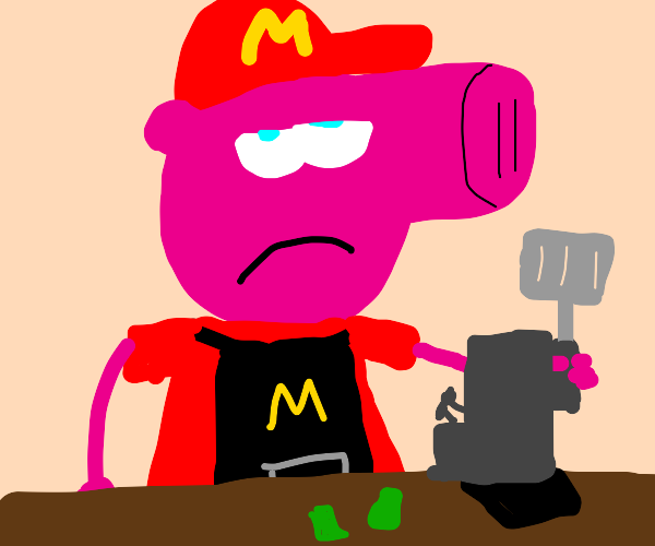 peppa pig from the front works at mcdonalds