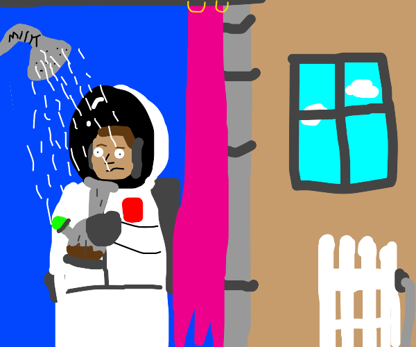 Astronaut does drugs while showering in milk
