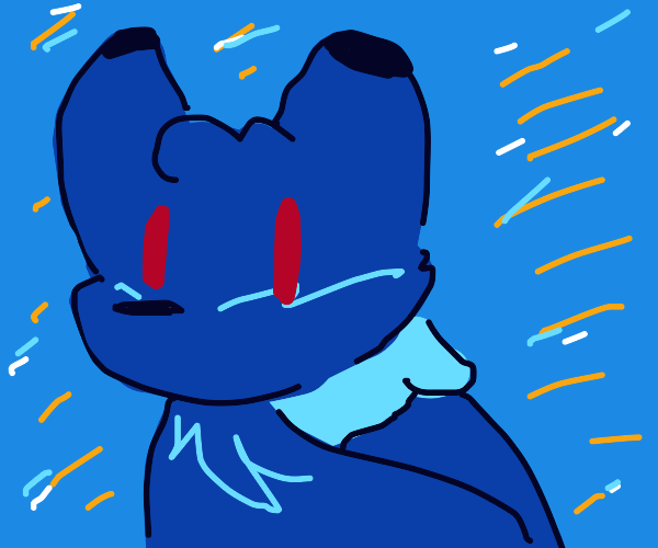 Blue fox with red eyes