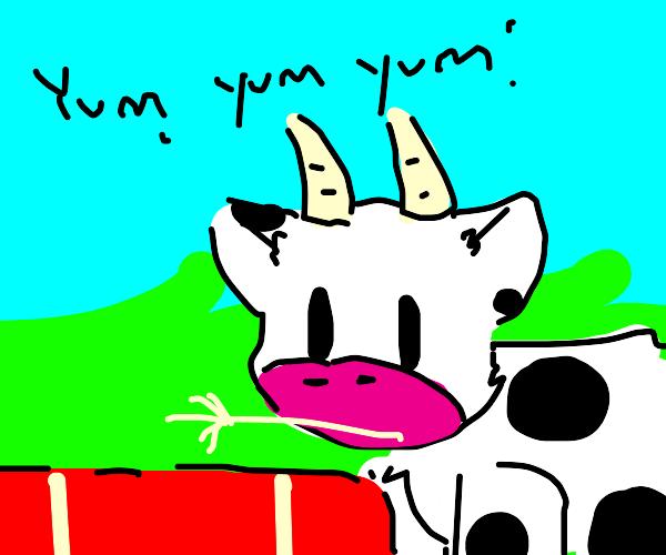 """""""Yum yum yum"""" said the cute little cow"""