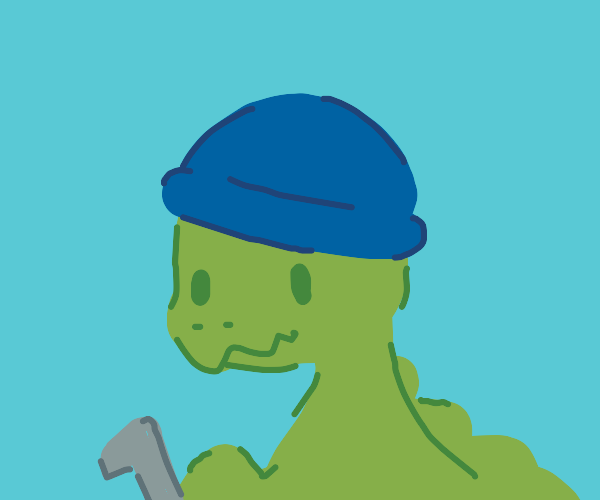 dino with a pipe and a hat