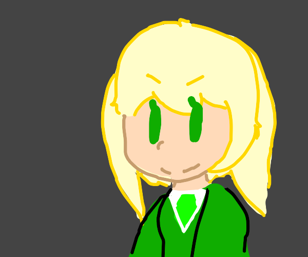 cute anime girl with blond hair & green shirt