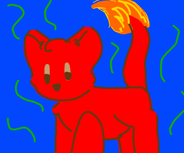 Stinky red cat with a fire tail