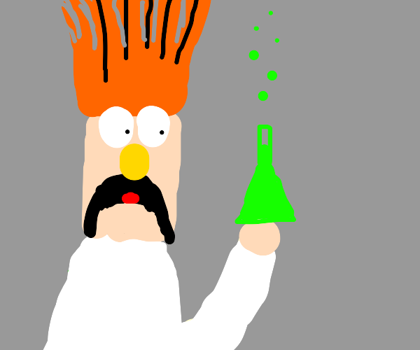 Scientist with beaker full of green chemical