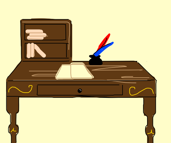 desk with red and blue feather quills