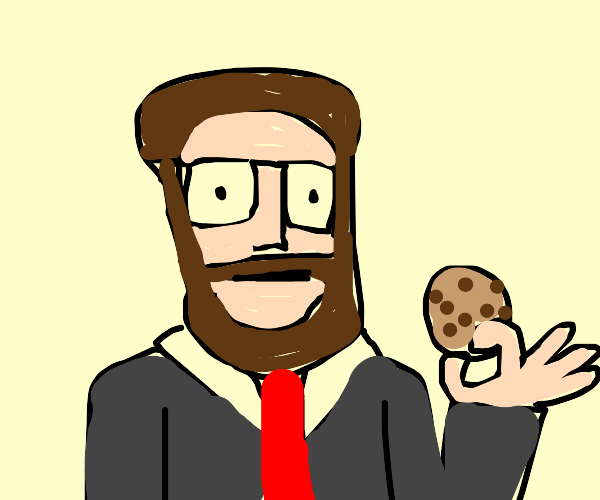 Seth Rogan in a suit, holding a cookie