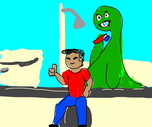 Dinosaur brushing his teeth with smol man