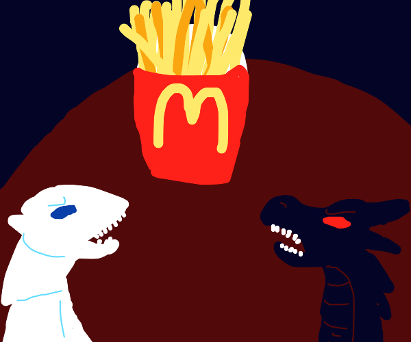 two dragons protect giant french fry